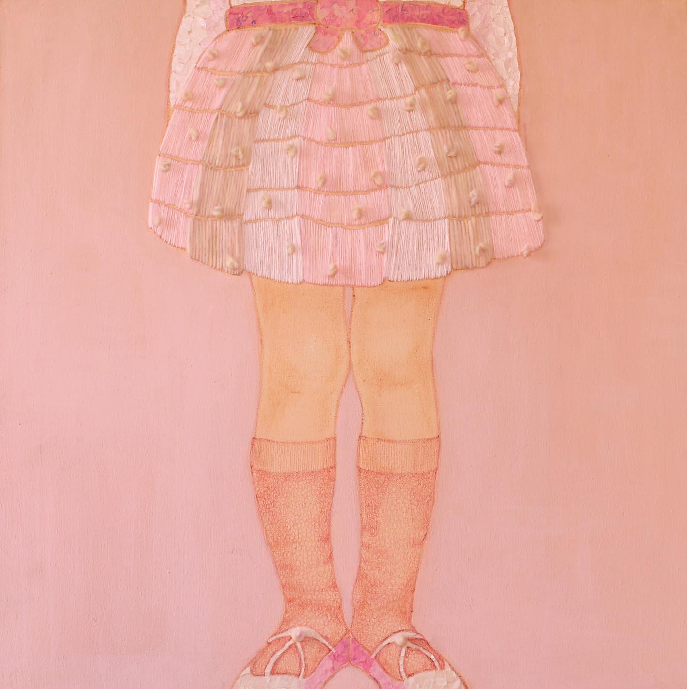 In Piedi,  tecnica mista su tela, 50x50cm, 2014