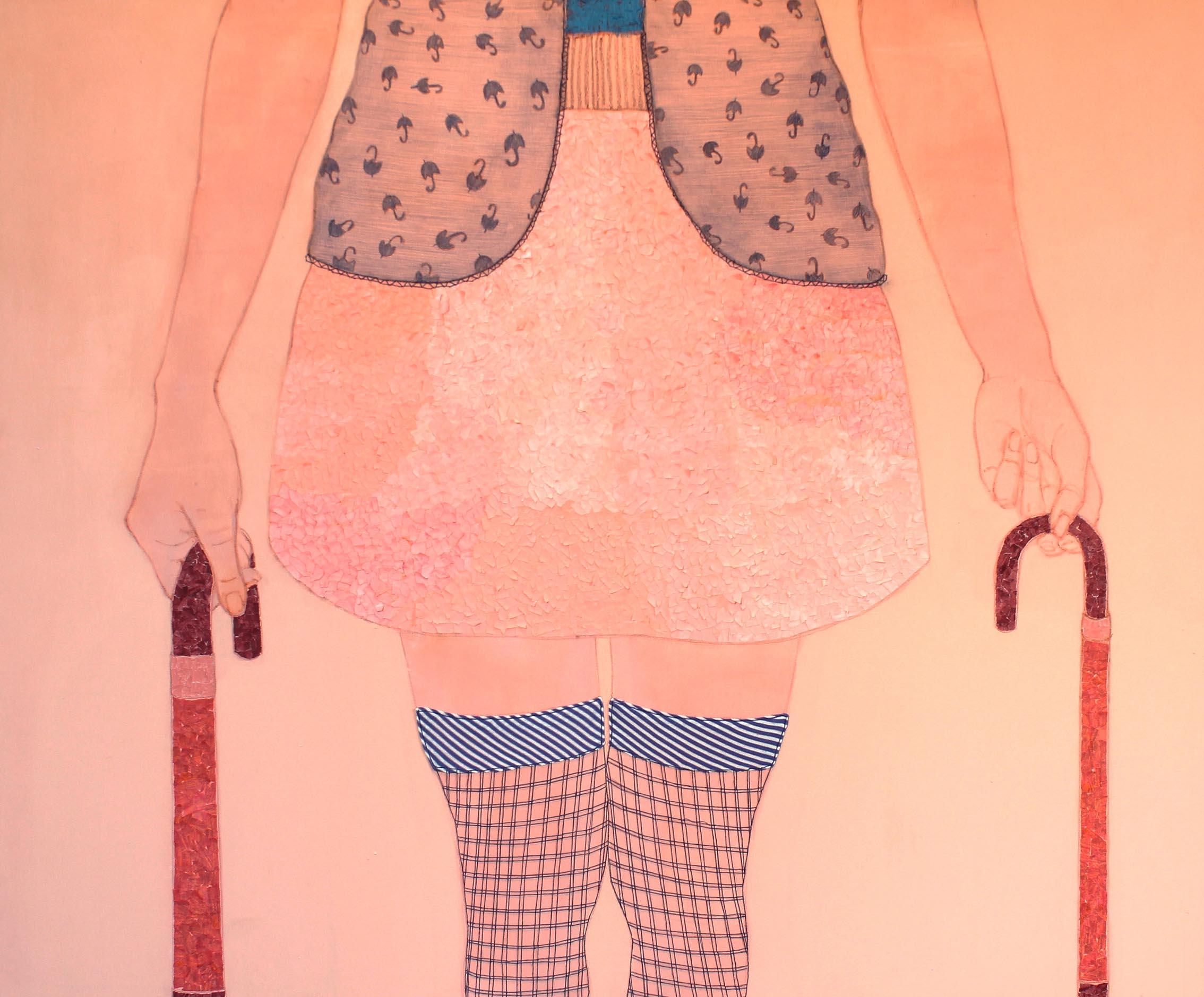 In bilico,  tecnica mista su tela, 100x130cm, 2014