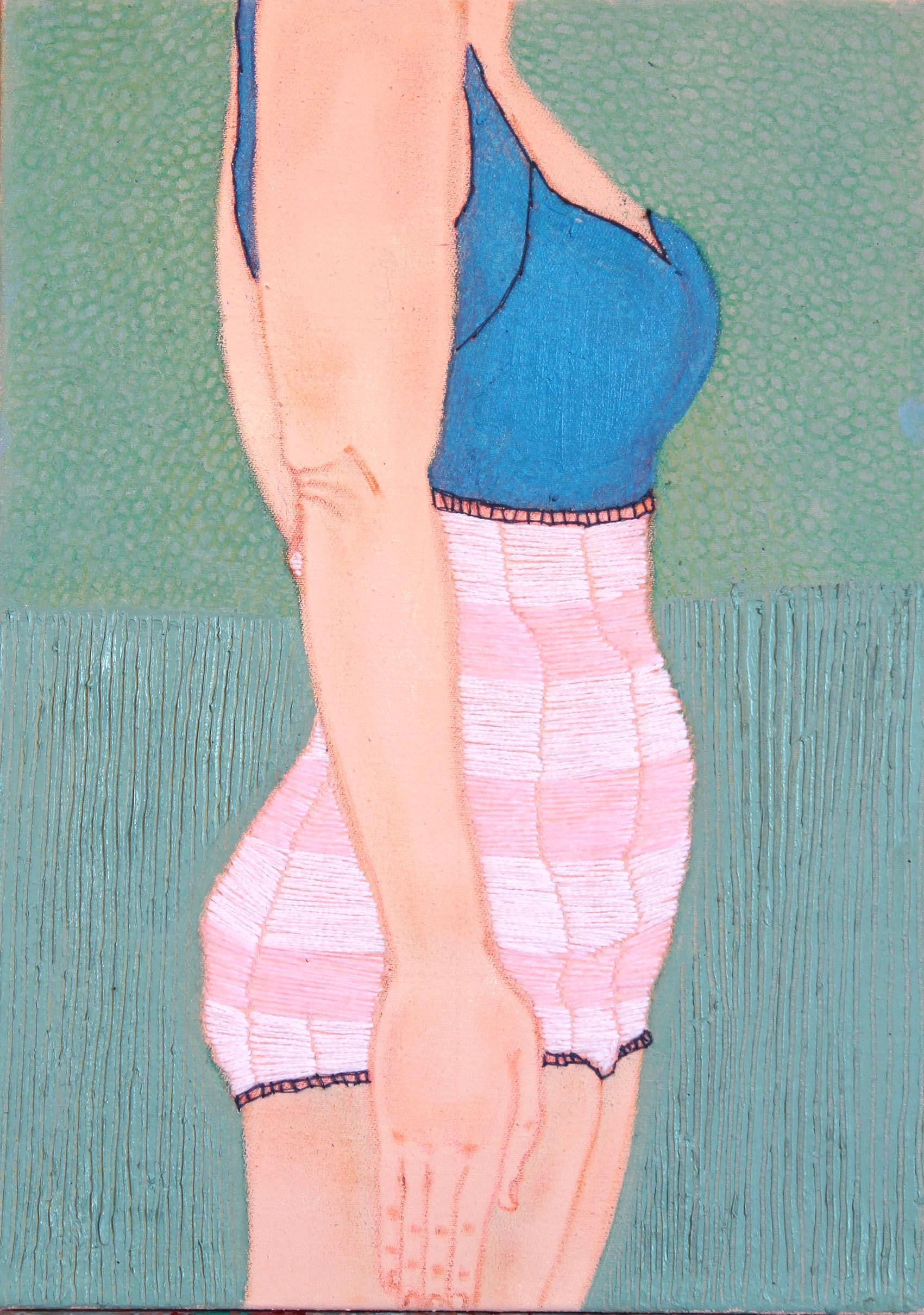 Soldatina, |acrilico, olio e filo colorato su tela, 30x45cm, 2014