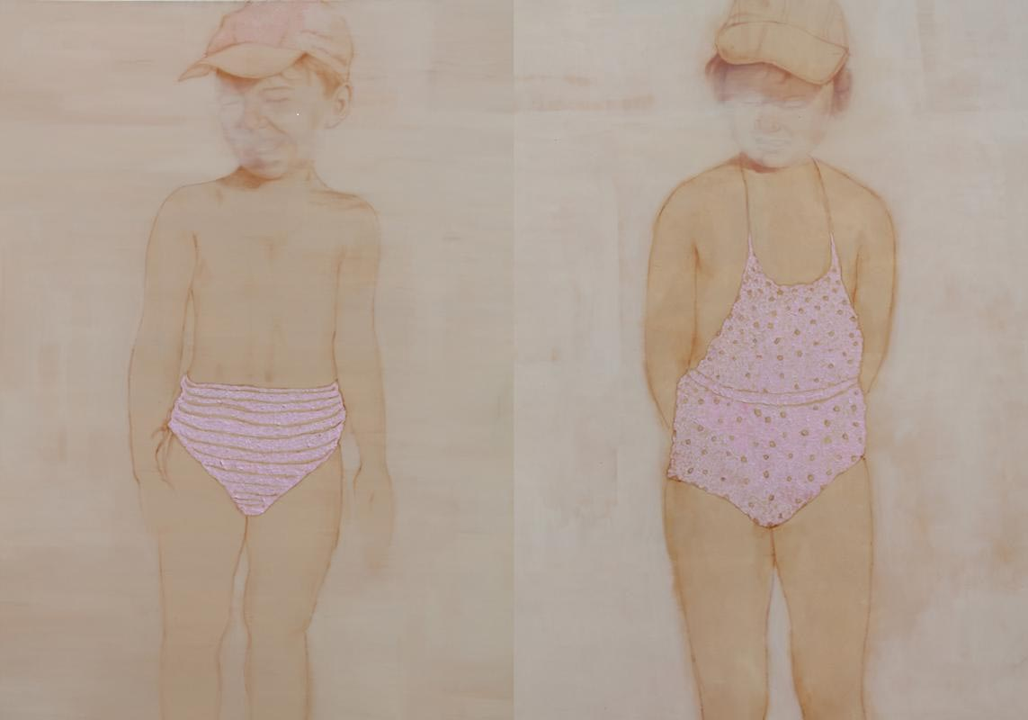 Abbagliati,| olio e carta colorata su tela, 120x200cm, 2012
