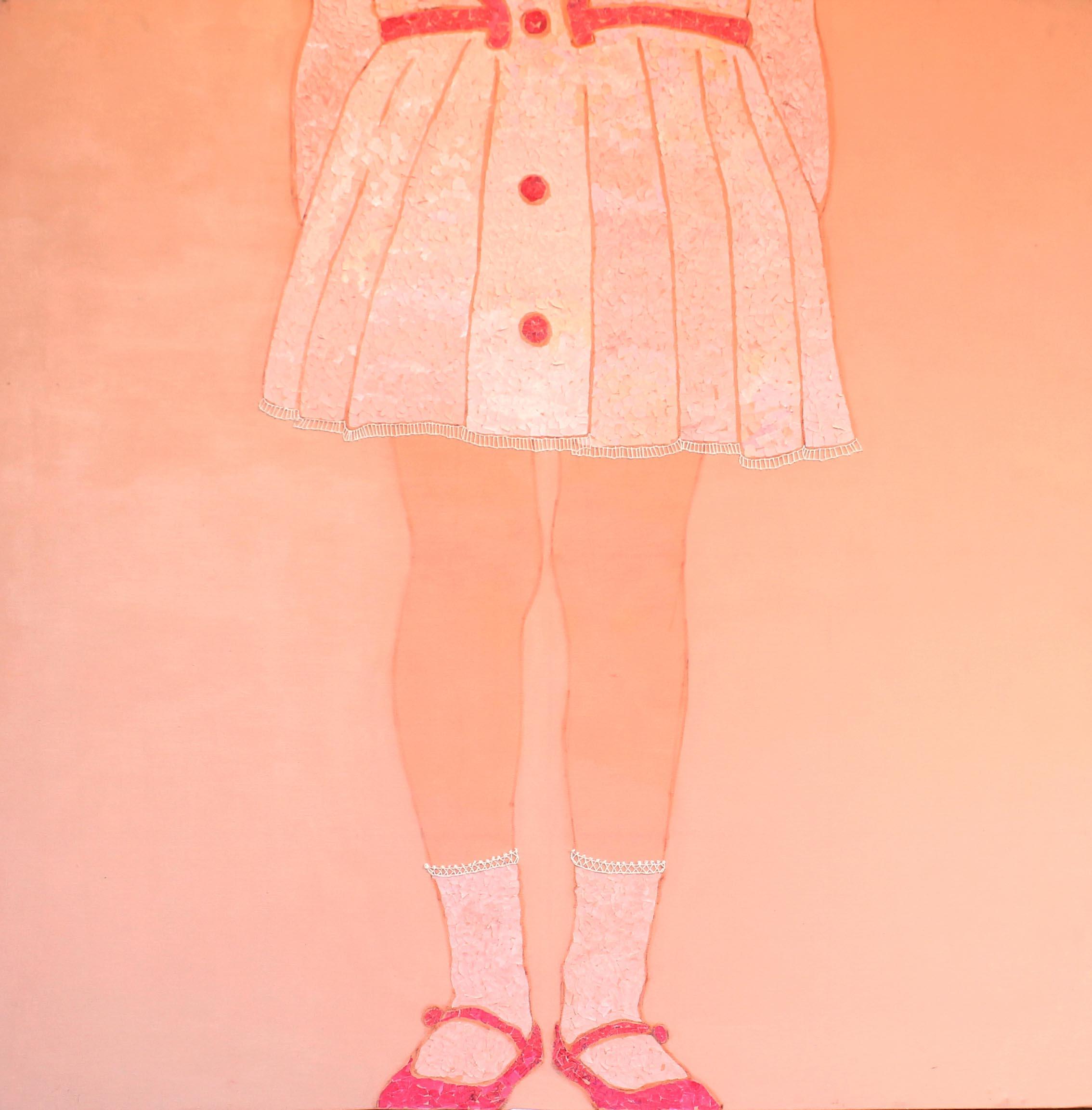 Senza titolo, |acrilco e carta colorata su tela, 100x100cm, 2013