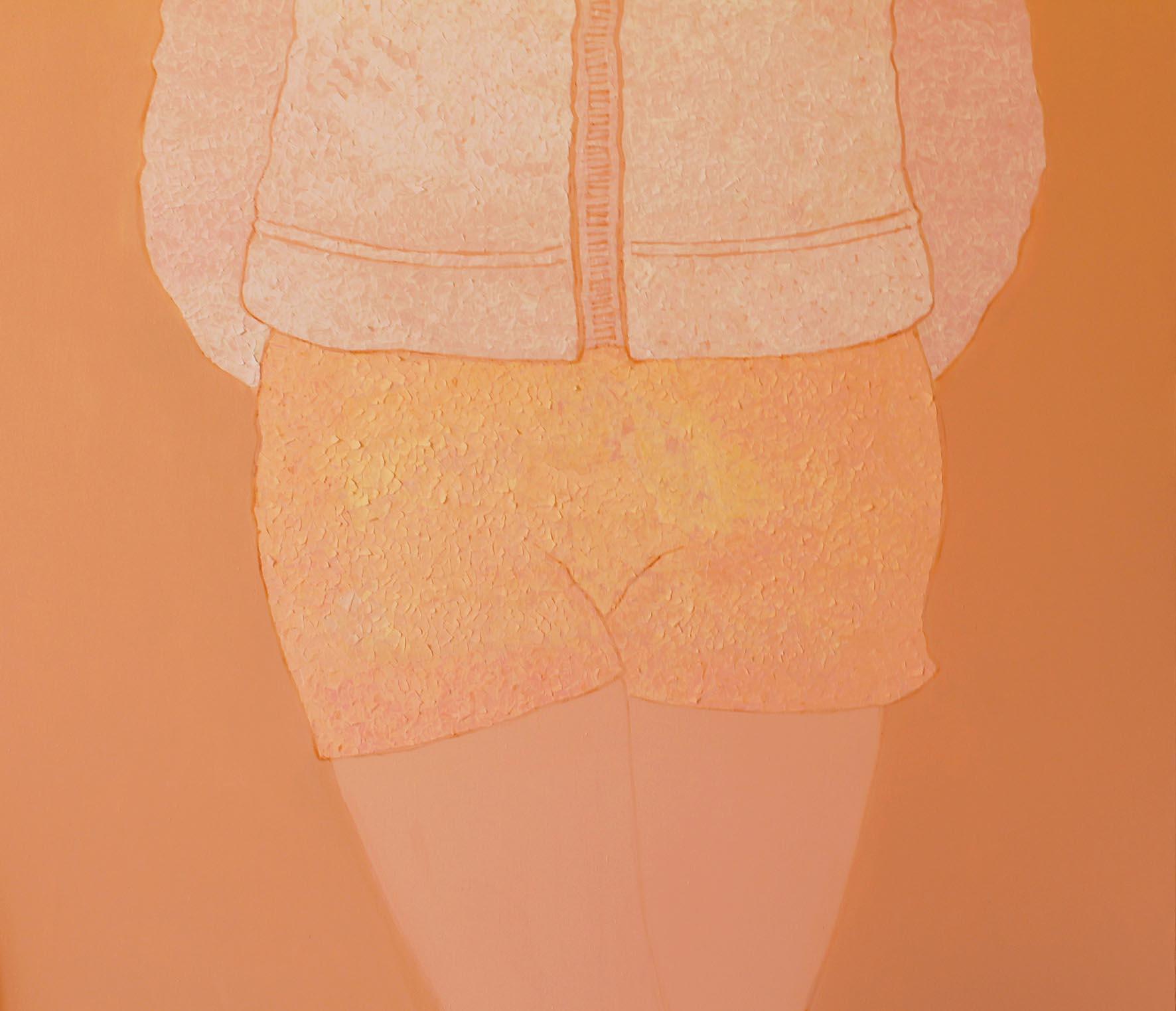 Senza titolo,  Acrilico e carta colorata su tela, 100x100cm, 2013