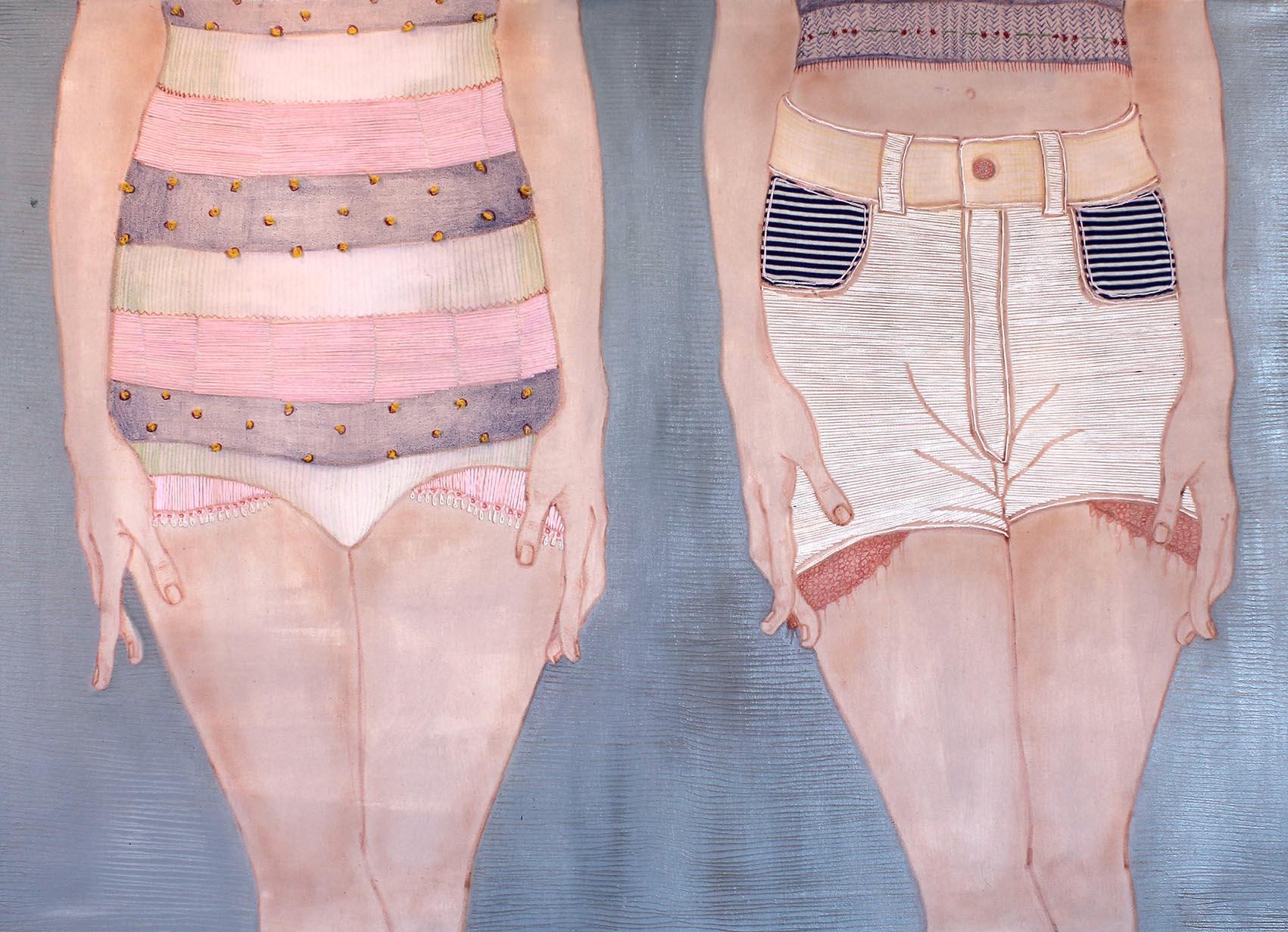 Madri e figlie, |Acrilico, matite e lana colorata su tela, 70x100cm, 2014