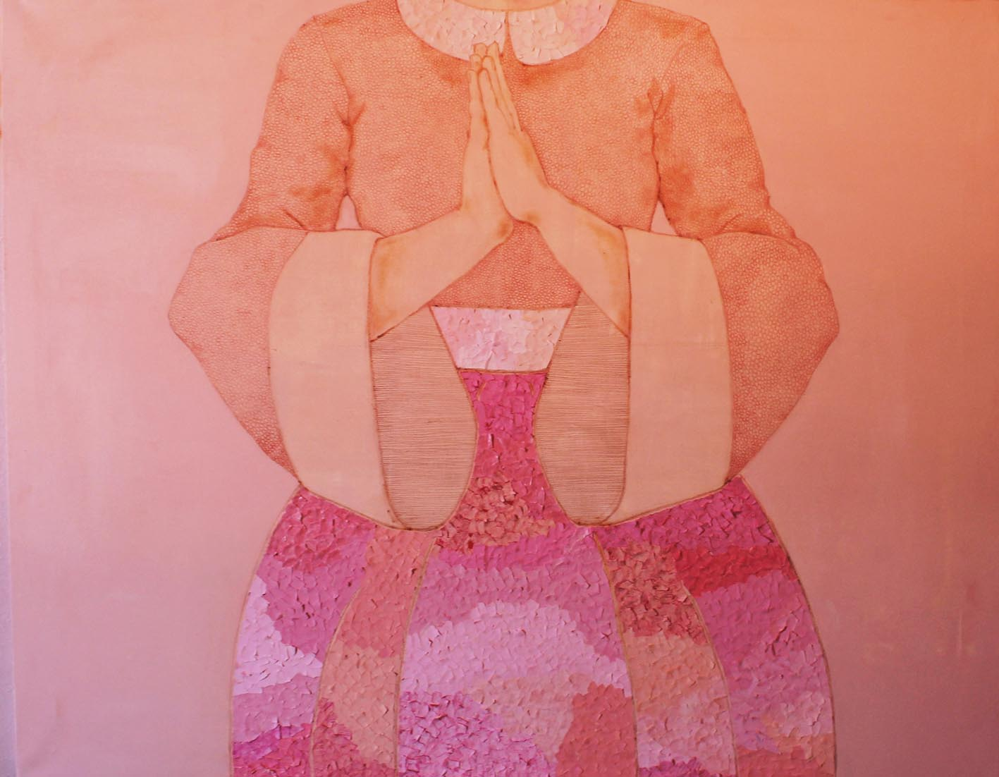 Mammina,  Acrilico, carta e matita colorata su tela, 70x100cm, 2013