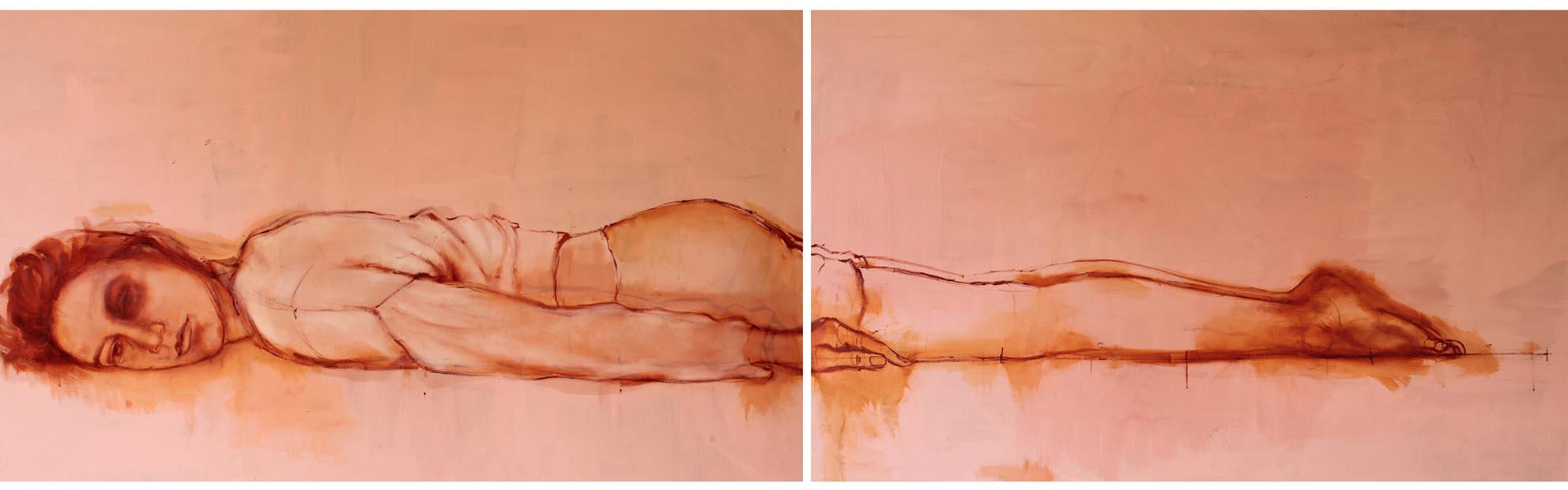 Senza titolo,|olio su tela, 100x240cm, 2013