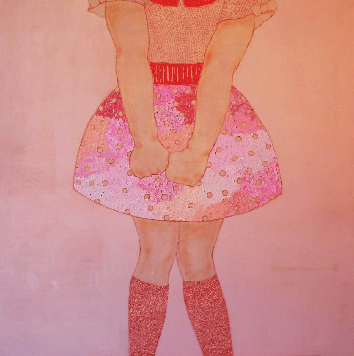 Senza titolo,  Acrilico, carta e matite colorate su tela, 100x100cm, 2013