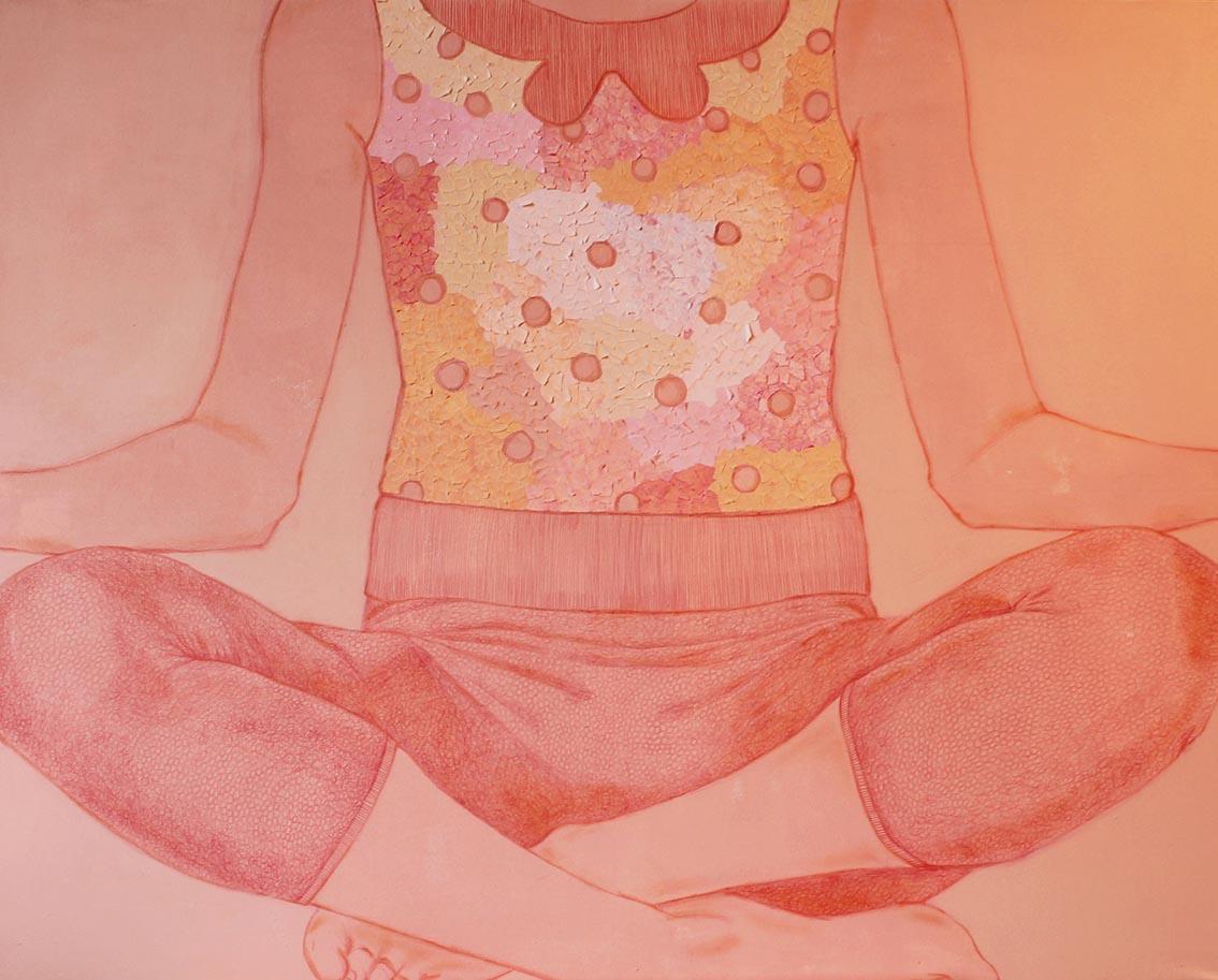 Senza titolo,  acrilico, matita e carta colorata su tela, 70x100cm, 2014